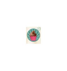 Cupcake label on vintage paper vector
