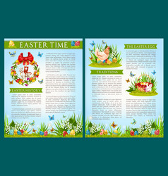 Easter egg hunt celebration brochure template vector