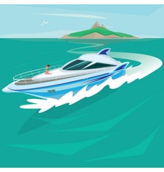 Girl sunbathing on the deck of a huge yacht vector image vector image