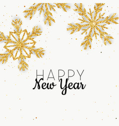 golden glitter snowflake new year greeting card vector image