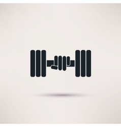 Hand holding weight with dumbbells icon vector