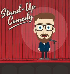 hilarious guy stand up comedian cartoon vector image