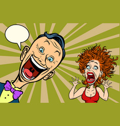 joyful man and scared woman vector image