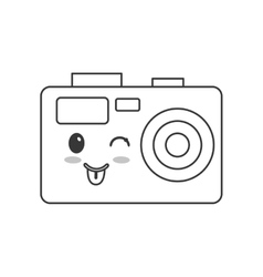 Kawaii photographic camera icon vector
