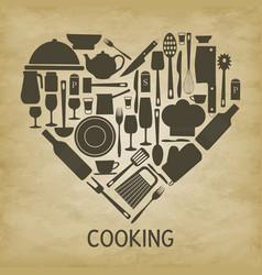 Logo kitchen icon heart vector