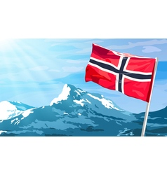 Norway flag on mountains background vector
