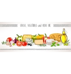 Olive oil vegetables and cheese composition vector image