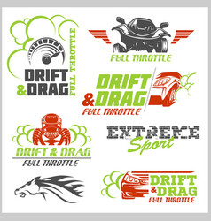 set of car racing emblems and championship race vector image