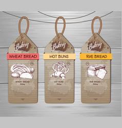 Set of restaurant labels of bakery menu design vector