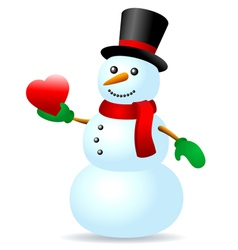 Snowman with heart vector image