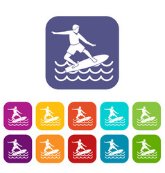 Surfer icons set vector