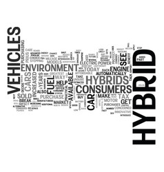 What exactly is a hybrid car text word cloud vector