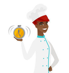 Young african-american chef holding alarm clock vector