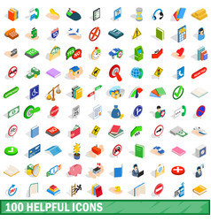 100 helpful icons set isometric 3d style vector image vector image