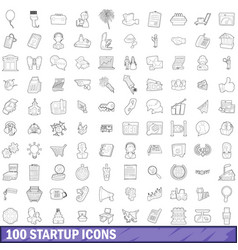 100 startup icons set outline style vector image vector image