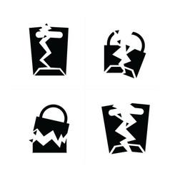 Shopping bags set break style icon vector