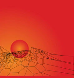 Abstract polygonal mountains on the sun background vector