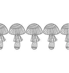 Decorative ornate mushrooms black and white vector