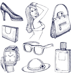 Hand drawn fashion elements vector image