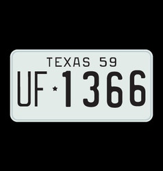 Texas 1959 license plate vector