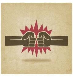 Punch fists fight symbol old background vector