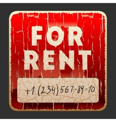 Vintage sign with the inscription for rent vector
