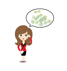 Business woman thinking to money vector