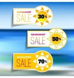 Colorful summer sale tags set vector
