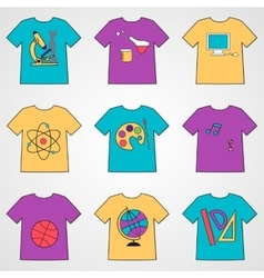Set of t-shirts with school icons vector