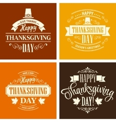 Typographic thanksgiving design set vector