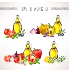Olive oil and vegetables set vector