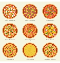 Pizza set icons vector
