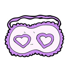 Comic cartoon sleeping mask with love hearts vector