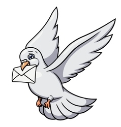 White pigeon is carrying letter 2 vector