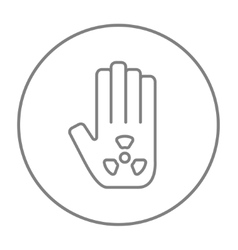 Ionizing radiation sign on a palm line icon vector