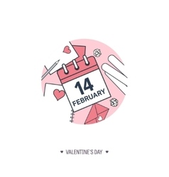 February 14 calendar icon valentines day love vector