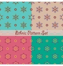 Set of Ethnic seamless patterns vector image