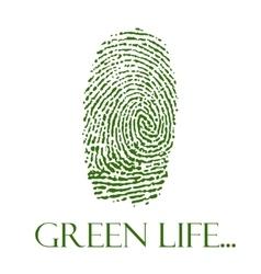green isolated fingerprint on white vector image