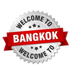 Bangkok 3d silver badge with red ribbon vector