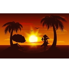 Evening sunset on sea sea palm trees silhouette vector