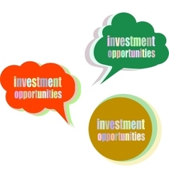 Investment opportunities set of stickers labels vector