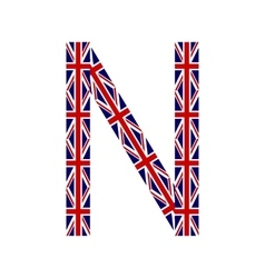 Letter n made from united kingdom flags vector
