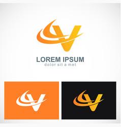 abstract letter v technology logo vector image