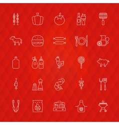Barbecue line icons vector