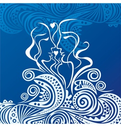 Beautiful sea and love vector image vector image