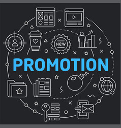 Black line flat circle promotion vector