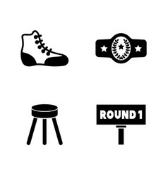 Boxing equipment simple related icons vector