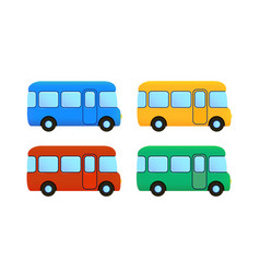 cartoon bus icon set color car vector image vector image