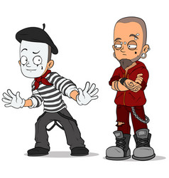 Cartoon french mime and punk characters set vector