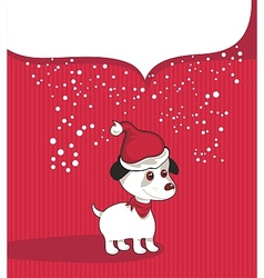 Christmas Background With Puppy vector image vector image